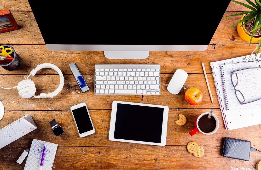 Flatlay desk image of tech.